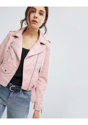 Parisian Leather Look Jacket - Pink
