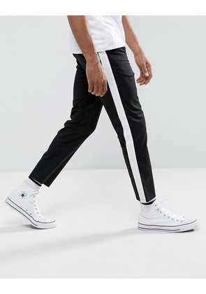 ASOS DESIGN Slim Cropped Chinos With Side Stripe In Black - Black