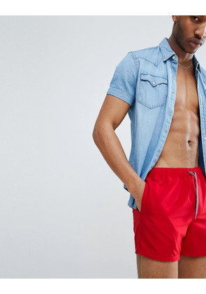 ASOS DESIGN Swim Shorts In Red In Short Length - Red