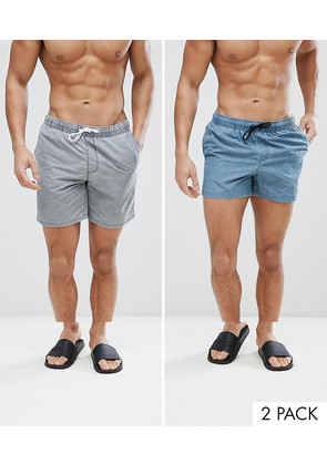 ASOS Swim Shorts 2 Pack In Mid And Short Length In Acid Wash Grey And Blue - Multi
