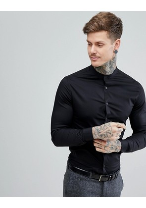 ASOS Skinny Shirt In Black With Grandad Collar - Black