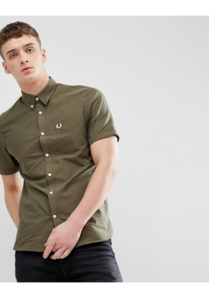 Fred Perry Oxford Short Sleeve Shirt In Khaki - A30