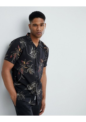 Bellfield Short Sleeve Revere Collar Shirt With Leaf Print - Black