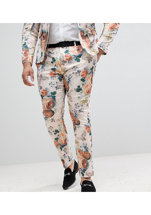 ASOS PLUS Wedding Super Skinny Suit Trousers In Champagne Floral - Cream
