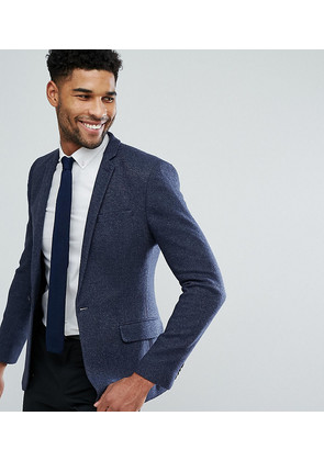 ASOS TALL Super Skinny Texture Blazer In Navy Wool Mix - Navy