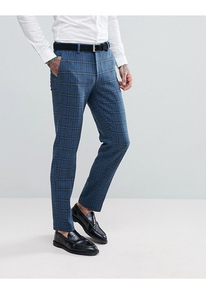 ASOS Skinny Suit Trousers In Blue Gradient Wool Blend Check - Blue