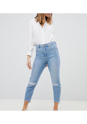 ASOS DESIGN Petite Farleigh high waist slim mom jeans in zaliki light vintage wash with busted knees - Light stone