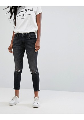 Polo Ralph Lauren Mid Rise Cropped Skinny Jeans - Washed blk