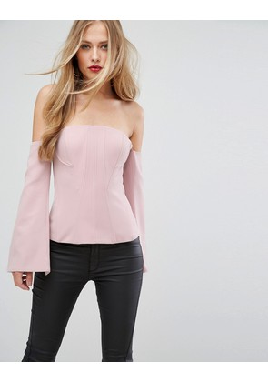 Forever New Going Out Structured Corset top with Long Sleeves - Pink