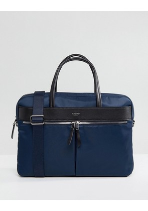 Knomo Mayfair Hanover Briefcase with Laptop Compartment with RFID Protection Lined Pockets - Navy