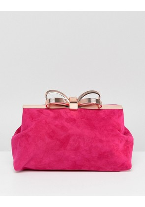 Ted Baker Statement Bow Clutch in Suede - Deep pink