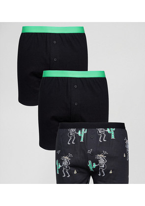 ASOS Jersey Boxers With Skeleton Design 3 Pack SAVE - Black