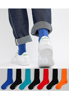 ASOS DESIGN Socks In Retro Sport Colours With Branded Soles 7 Pack Save - Multi