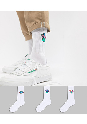 ASOS Sports Style Socks With Alien Embroidery 3 Pack - White