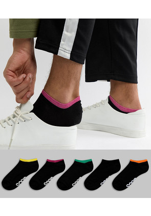 ASOS DESIGN Trainer Socks In Black With Contrast Welts & Branded Soles 5 Pack - Multi