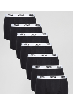 ASOS Trunks In Black With Branded Waistband 7 Pack SAVE - Black