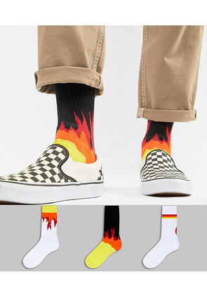 ASOS Sports Socks With Flame Design 3 Pack - Multi