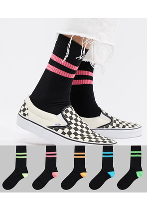 ASOS DESIGN Sports Style Socks In Summer Weight In Black & Super Bright Stripes 5 Pack - Black