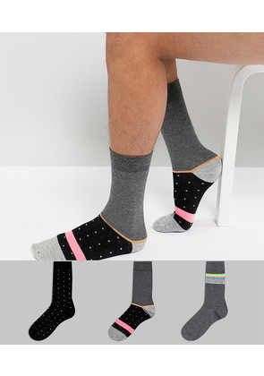 ASOS Socks With Neon Stripes & Dots 3 Pack - Multi