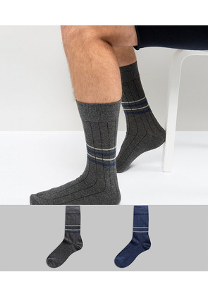 Selected Homme Ribbed Socks In 2 Pack With Stripes - Dark blue melange
