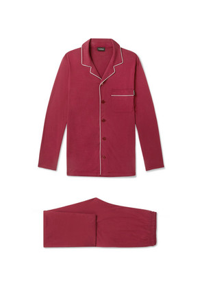 Piped Mulberry Silk And Cotton-blend Pyjama Set