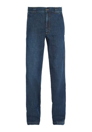 Washed straight-leg jeans