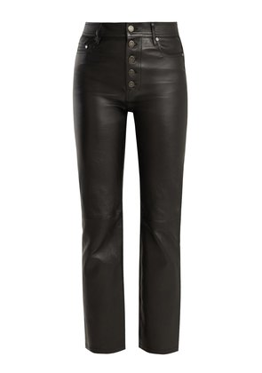 High-rise stretch-leather trousers
