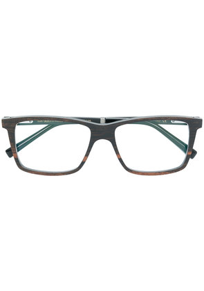 Gold And Wood square frame glasses - Brown