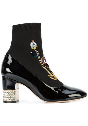 Gucci 'Candy' embroided ankle boots - Black