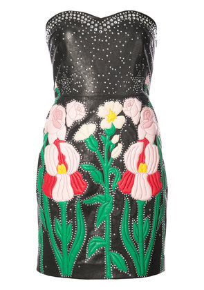 Gucci flower intarsia strapless dress - Black