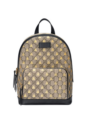 Gucci GG Supreme bees backpack - Nude & Neutrals