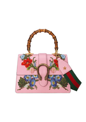 Gucci Dionysus embroidered leather top handle bag - Pink & Purple