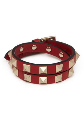 'Rockstud' double wrap leather bracelet