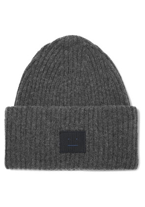 Acne Studios - Pansy Face Appliquéd Ribbed Wool-blend Beanie - Gray