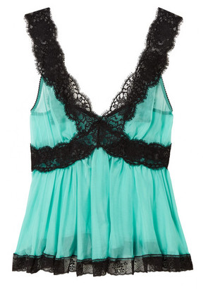 Dolce & Gabbana - Lace-trimmed Silk-blend Chiffon Camisole - Turquoise