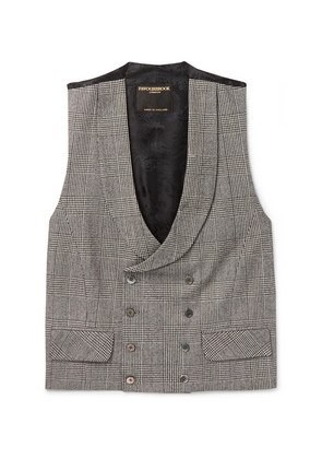 Sandalson Prince Of Wales Checked Organic Cotton And Linen-blend Waistcoat