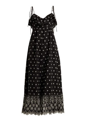 Moonbeams floral-embroidered dress