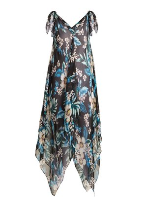 Floral-print silk-chiffon cover-up