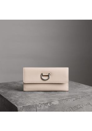Burberry D-ring Grainy Leather Continental Wallet, Beige