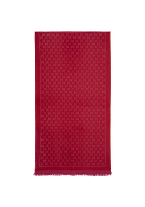 Gucci Red & Pink Wool GG Scarf