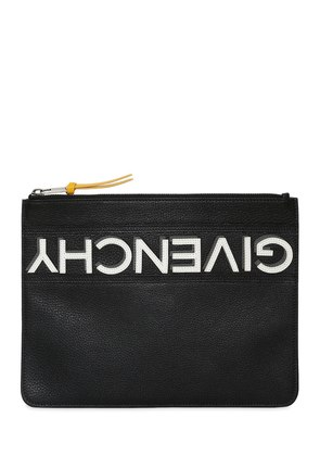 REVERSE LOGO GRAINED LEATHER POUCH