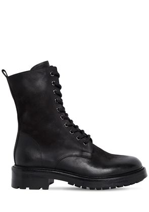 30MM WASHED LEATHER COMBAT BOOTS