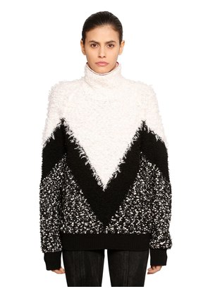 CHEVRON INTARSIA MOHAIR & WOOL SWEATER