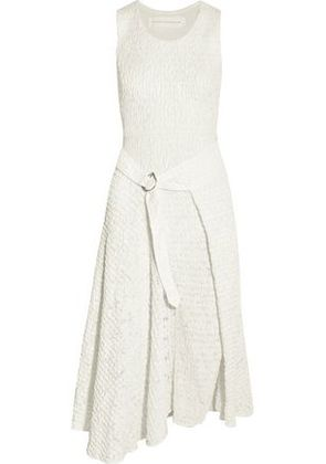 Victoria Beckham Woman Asymmetric Belted Floral-print Crepon Dress White Size 6 Victoria Beckham Outlet Reliable Outlet Online Pay With Visa Cheap Price DzZCnCB