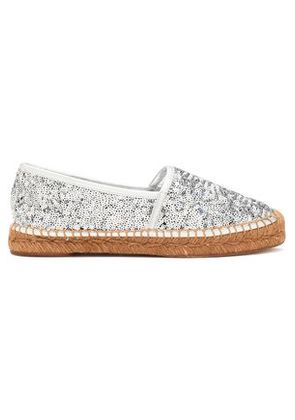 Dolce & Gabbana Woman Leather-trimmed Sequined Canvas Espadrilles Silver Size 37