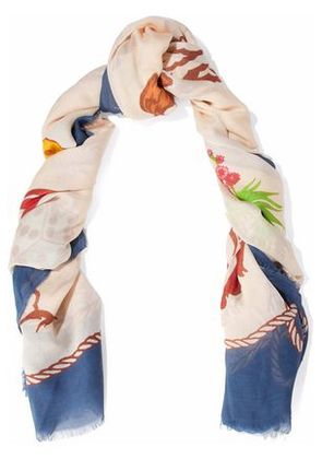 Stella Mccartney Woman Fringed Printed Modal And Silk-blend Scarf Multicolor Size -