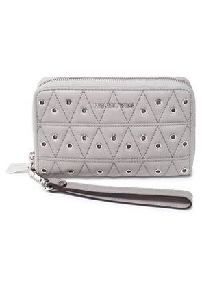Michael Michael Kors Woman Eyelet-embellished Quilted Leather Wallet Light Gray Size -