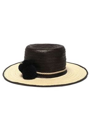 Sophie Anderson Woman Pompom-embellished Two-tone Straw Hat Black Size S