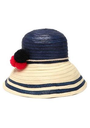 Sophie Anderson Woman Pompom-embellished Two-tone Straw Hat Blue Size S