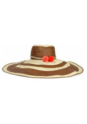 Sophie Anderson Woman Corozon Pompom-embellished Striped Straw Sunhat Ivory Size S